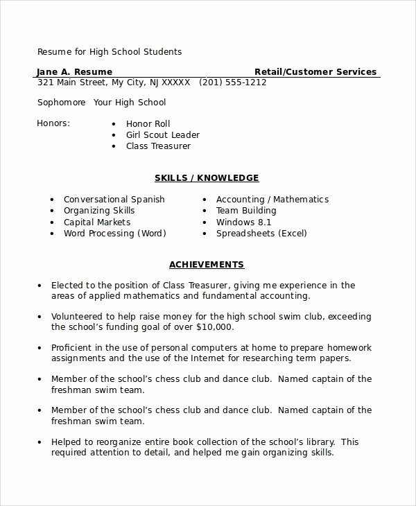 8 High School Student Resume Samples
