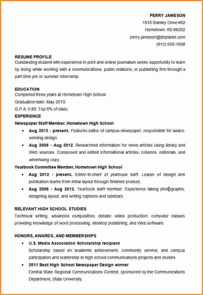 8 High School Student Resume Template Pdf