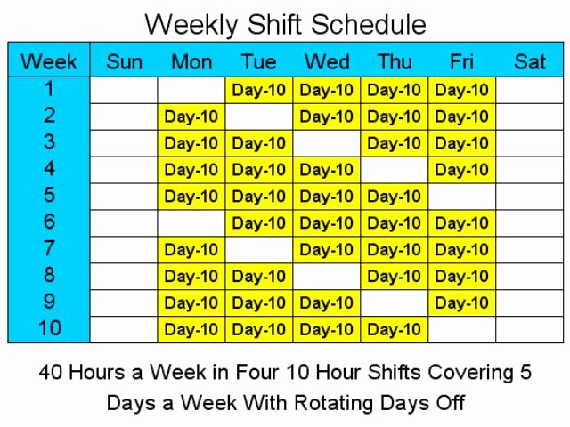 8 Hour Rotating Shift Schedule Template Free