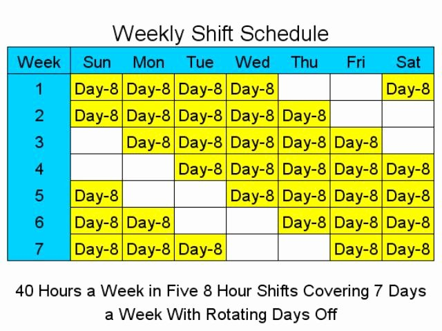 8 Hour Rotating Shift Schedules Examples