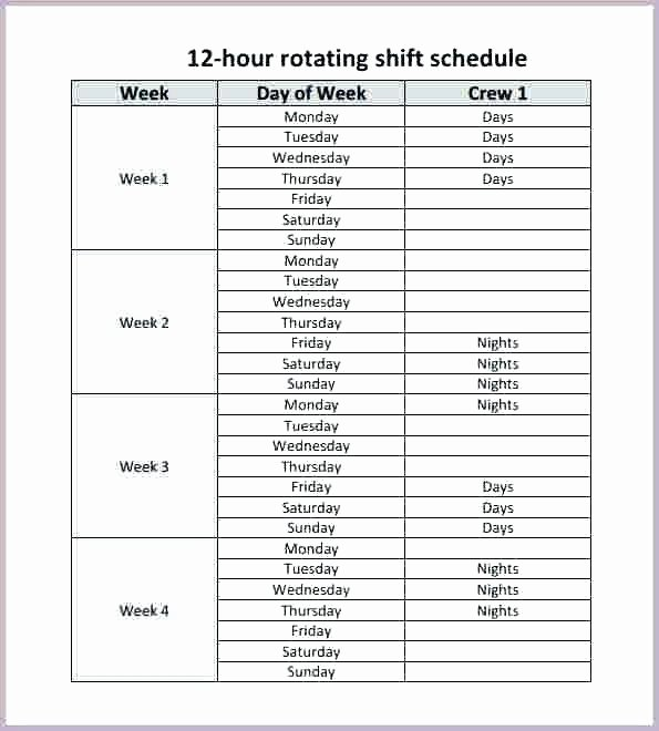 8 Hour Shift Schedule Template – Chaseevents