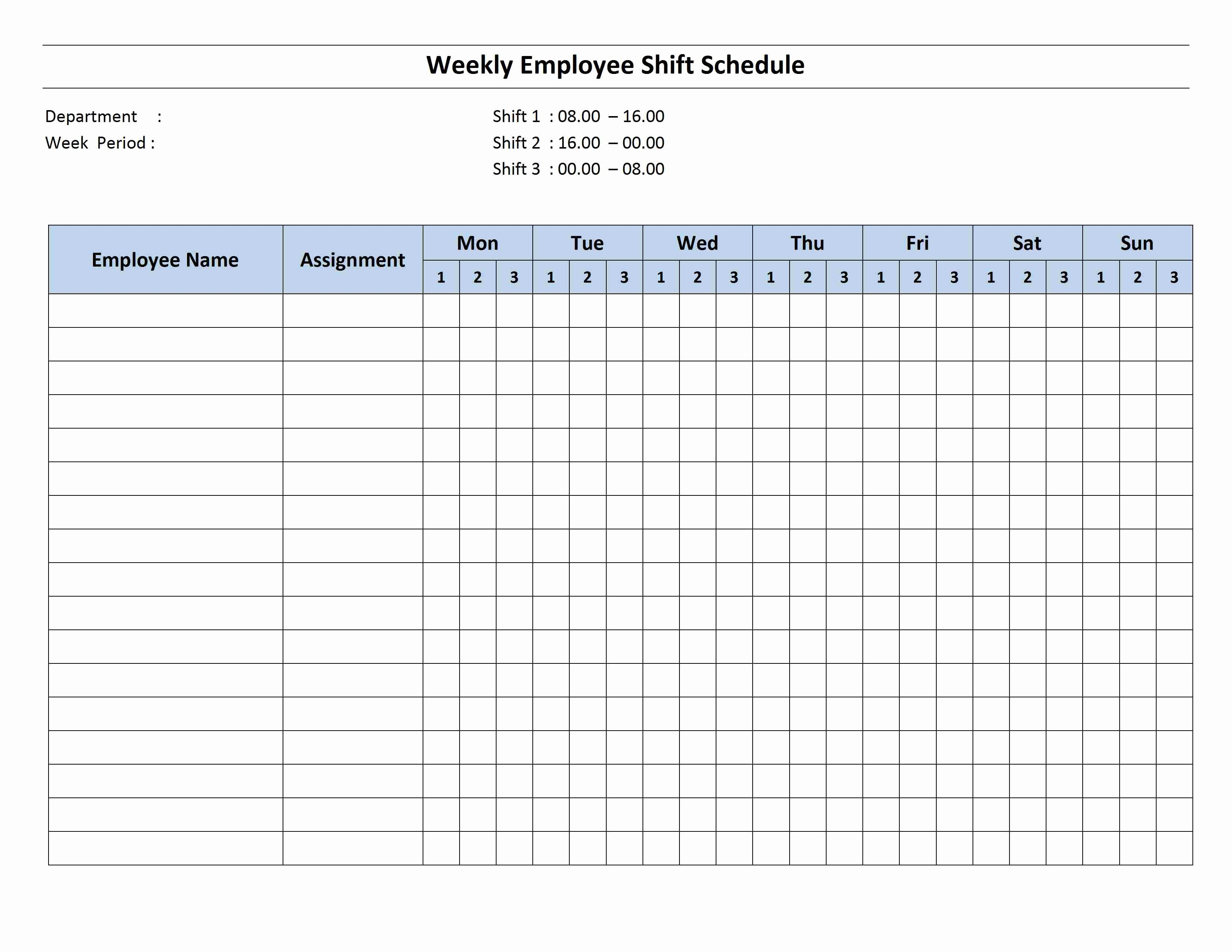 8 Hour Shift Schedule Template