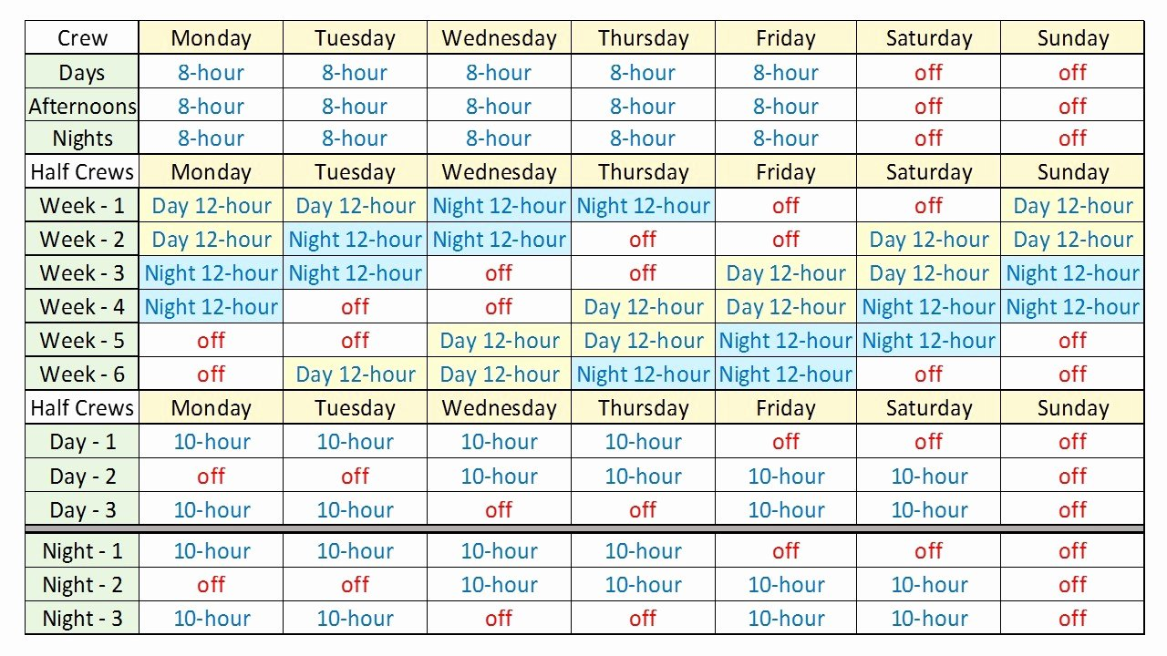 8 Hour Shift Work Schedule Template Templates Resume