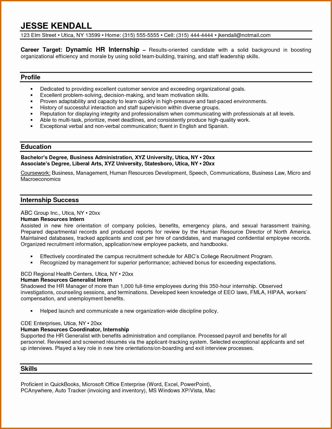 8 Human Resources Internship Resume