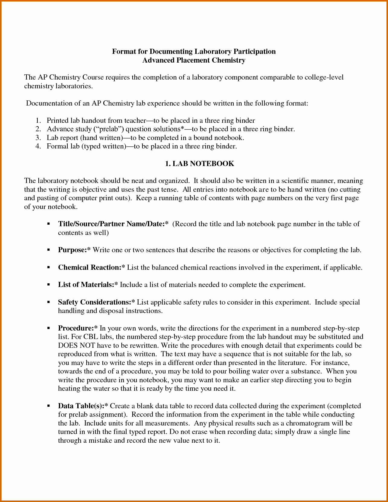 8 Ib Chemistry Lab Report format
