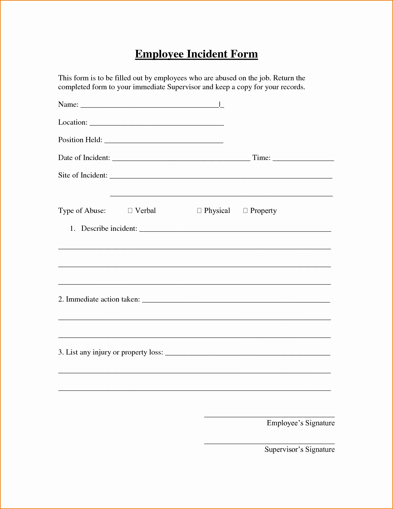 8 Incident Report form Template