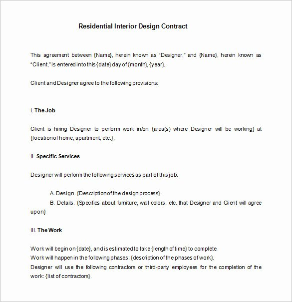 8 Interior Designer Contract Templates Pdf Doc