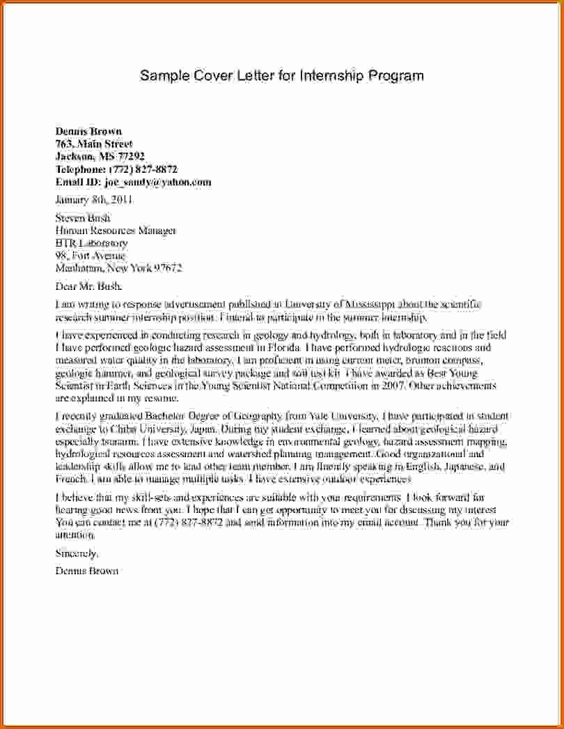 8 Internship Cover Letter Sample