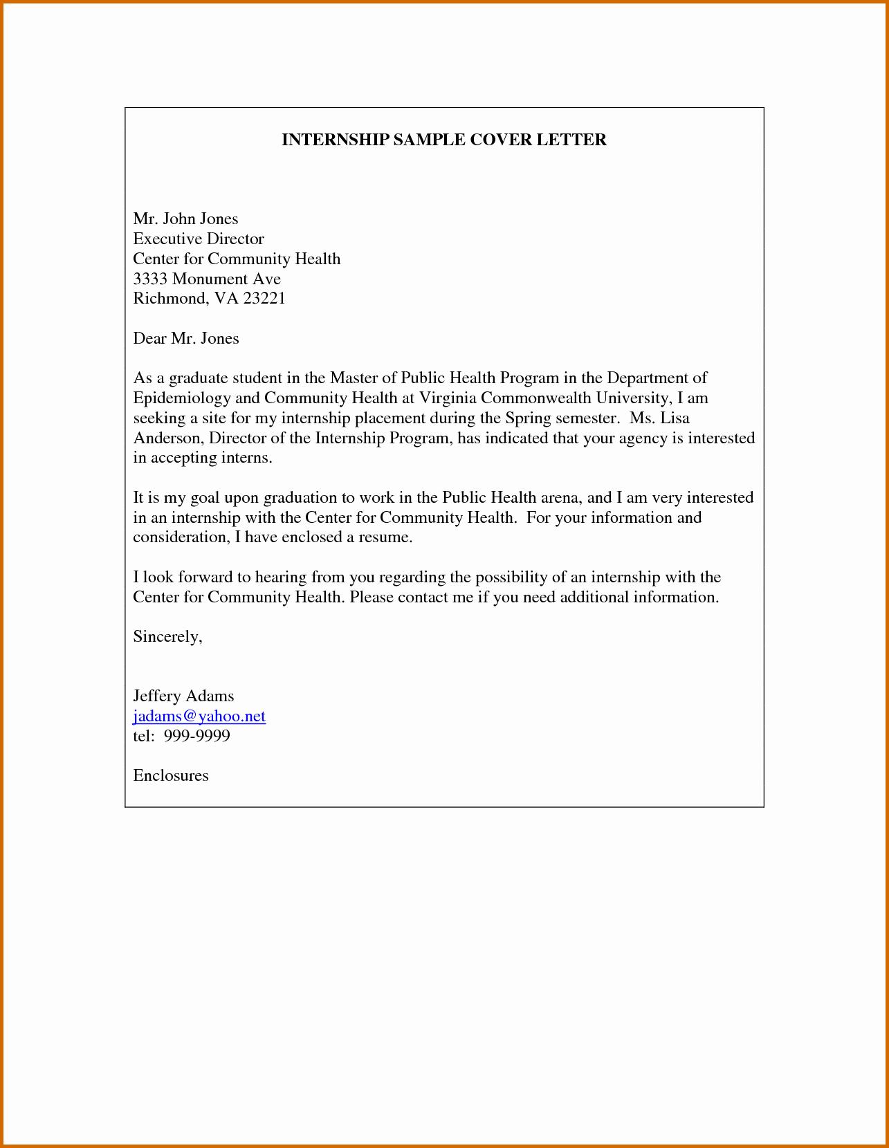 8 Internship Cover Letter Sample