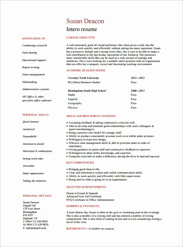 8 Internship Resume Templates Pdf Doc