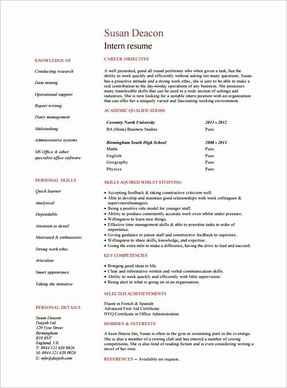 8 Internship Resume Templates Pdf Doc