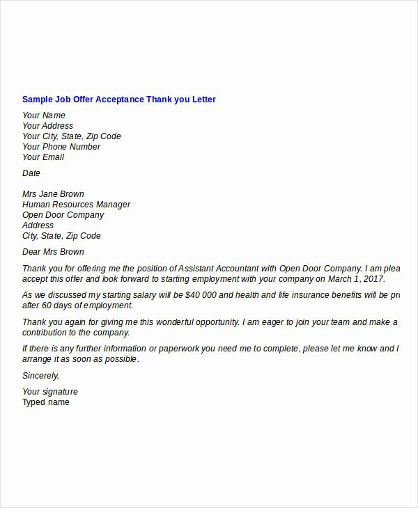 8 Job Fer Thank You Letter Templates Pdf Doc Apple