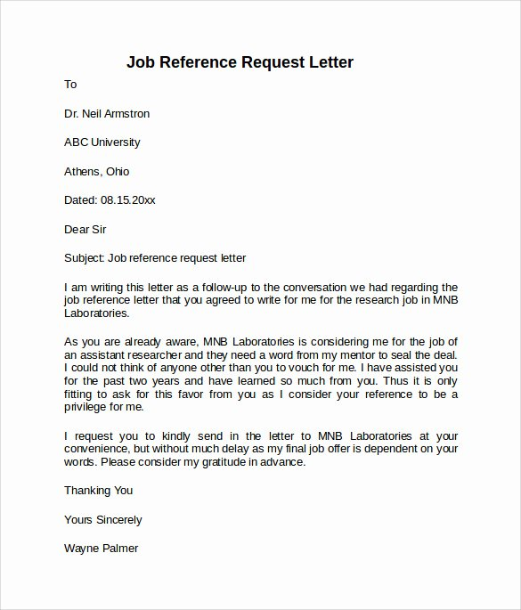 8 Job Reference Letters – Samples Examples & formats