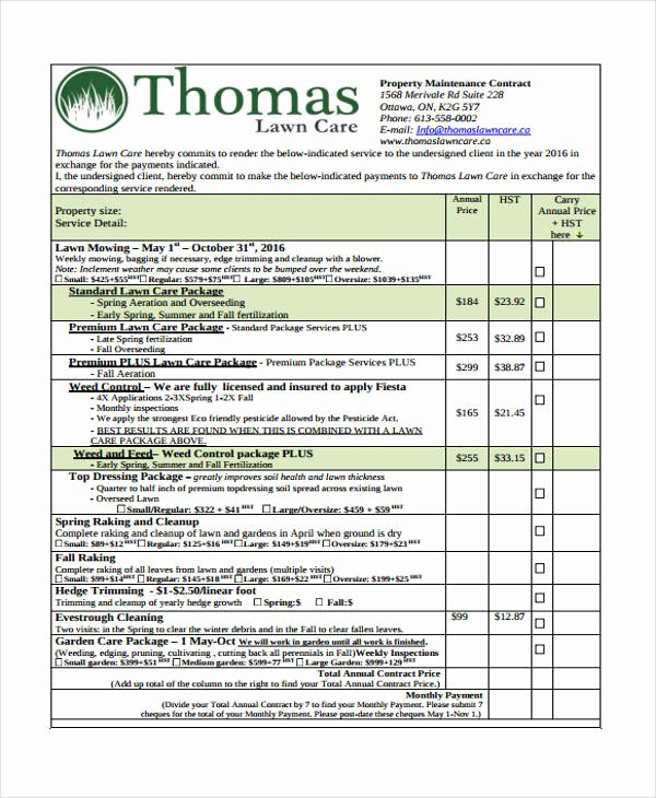 8 Lawn Service Contract Templates Free Sample Example