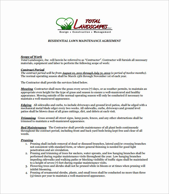 8 Lawn Service Contract Templates Pdf Doc