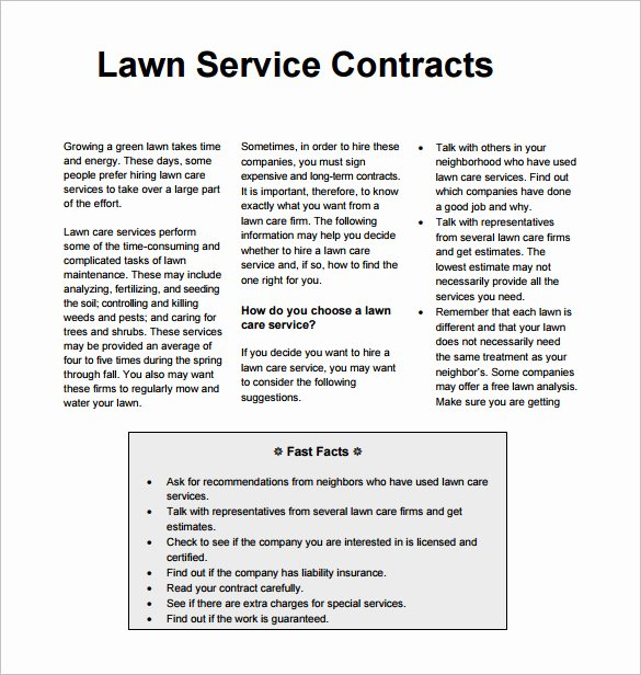 8 Lawn Service Contract Templates Pdf Doc