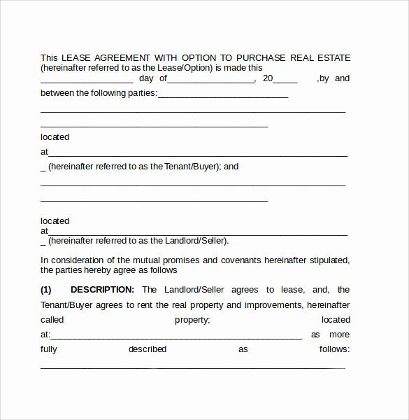 8 Lease Purchase Agreement Template to Download