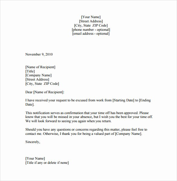 8 Leave Of Absence Letters – Pdf Word