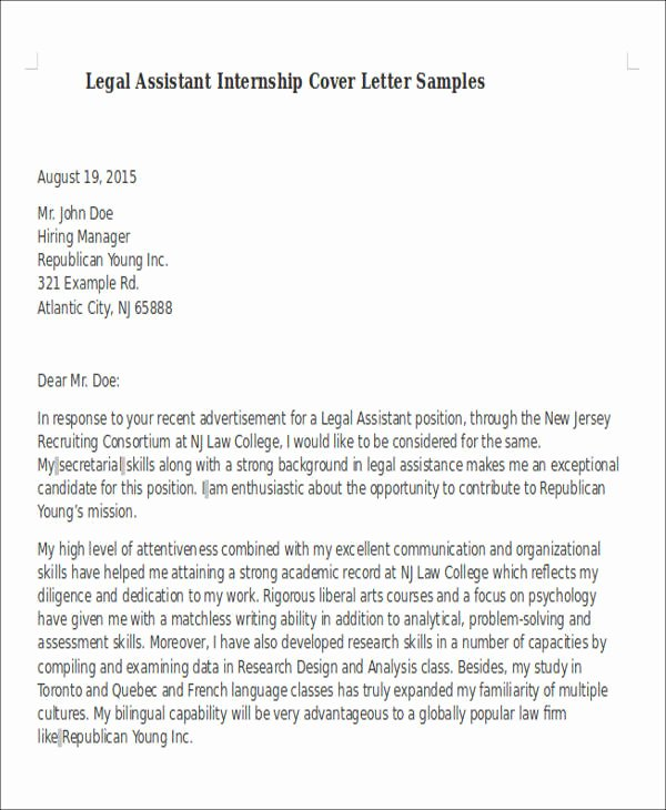 8 Legal assistant Cover Letters