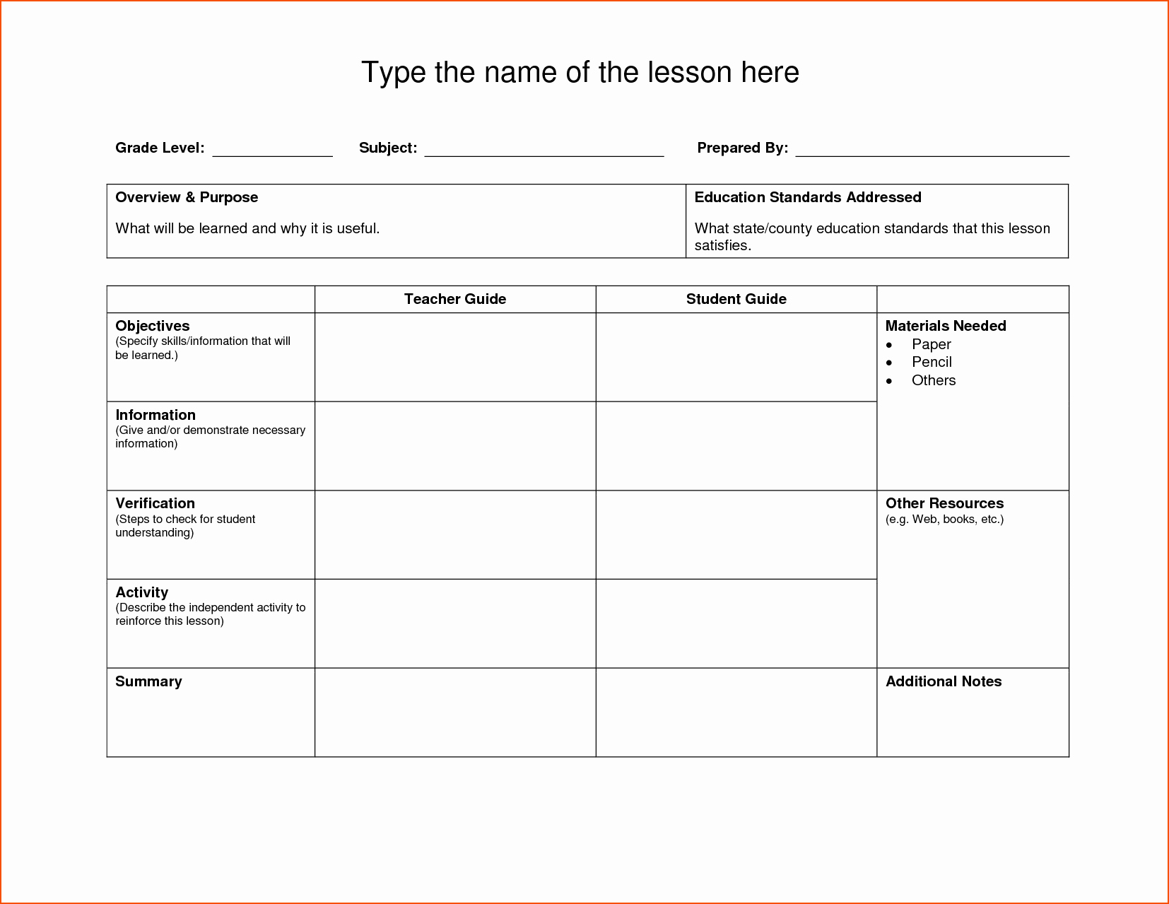 8 Lesson Plan Template Doc Bookletemplate