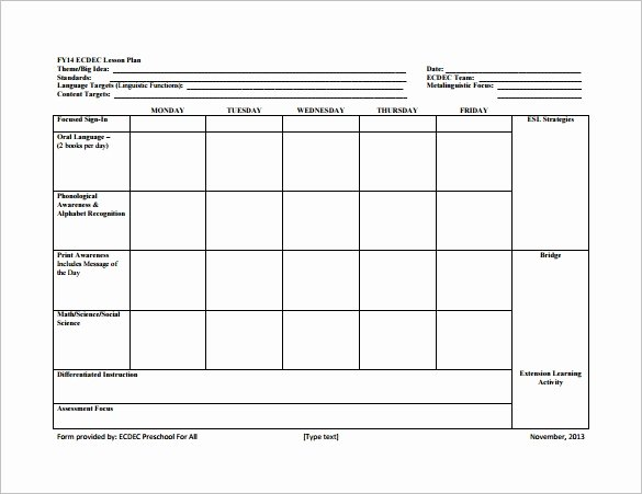 8 Lesson Plan Templates – Free Sample Example format