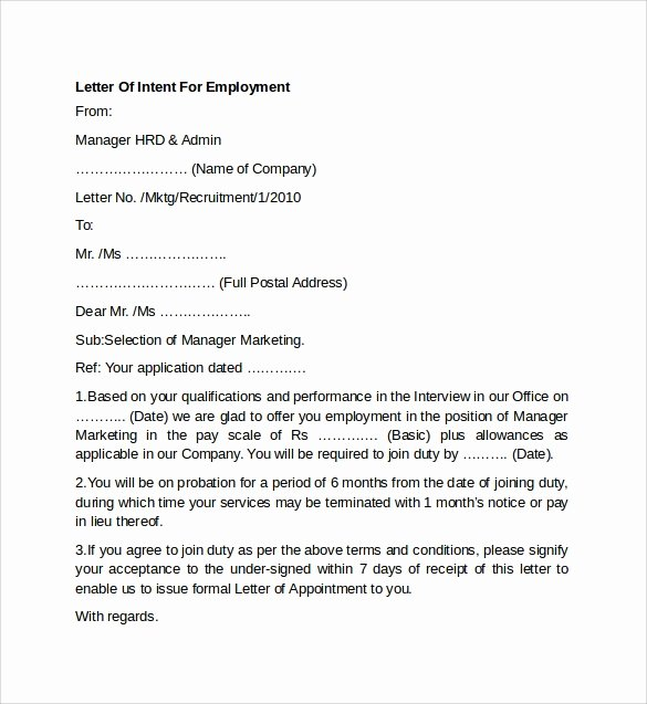 8 Letter Of Intent for Employment Templates to Download