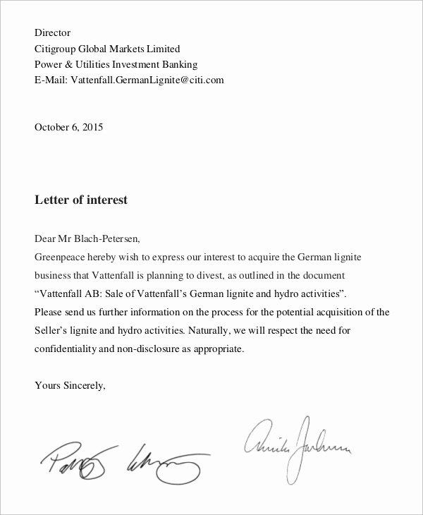 8 Letter Of Interest Samples