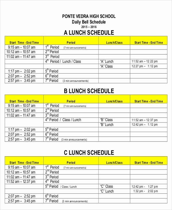 8 Lunch Schedule Templates Sample Examples