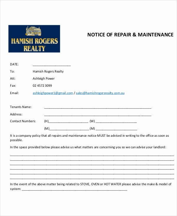 8 Maintenance Notice Templates Free Sample Example