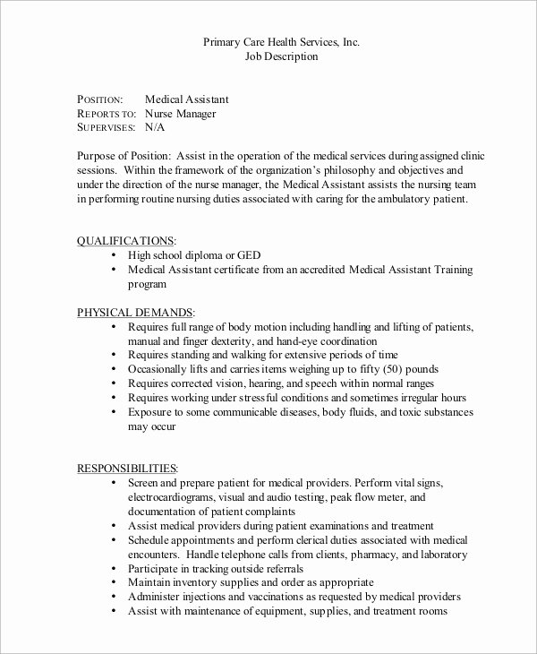 8 Medical assistant Job Description Samples