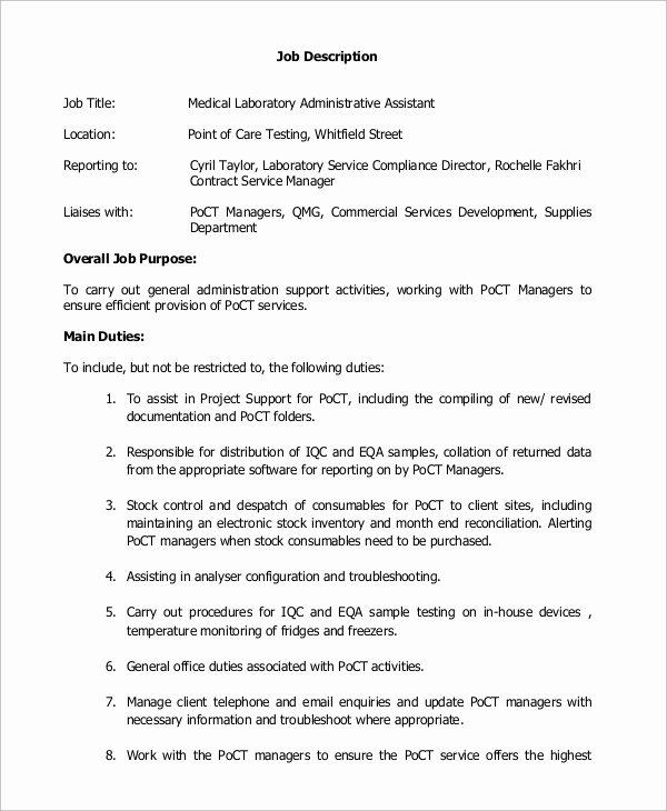 8 Medical assistant Job Description Samples