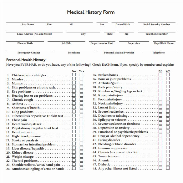 8 Medical History forms