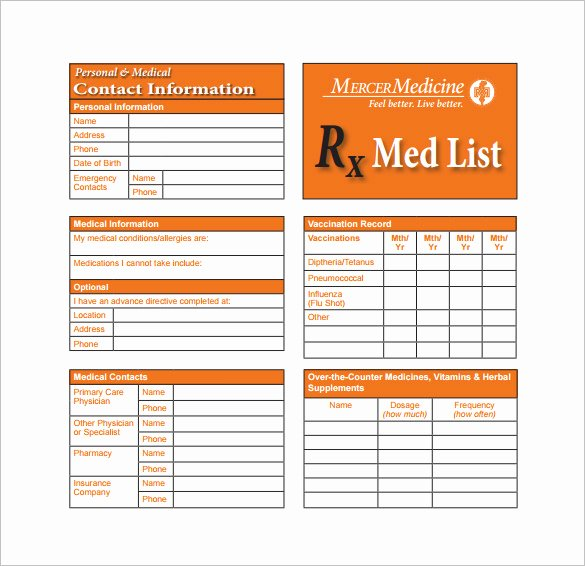 8 Medication Card Templates Doc Pdf