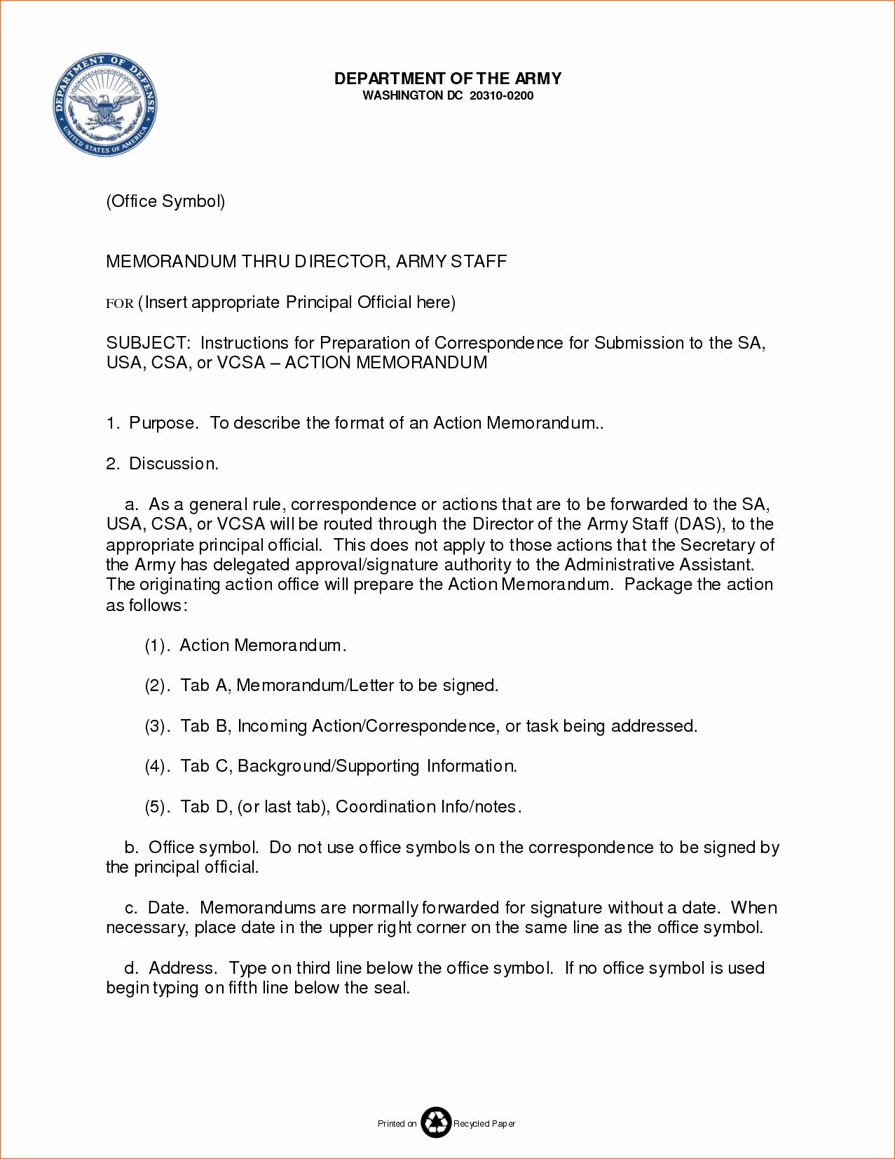8 Memorandum format