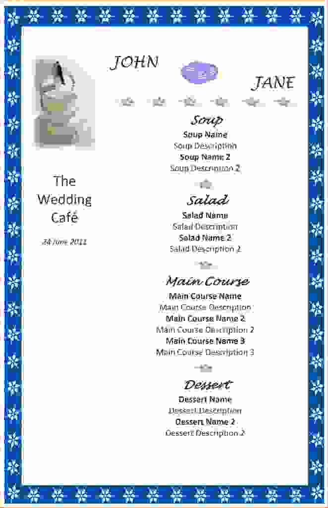 8 Menu Templates for Word