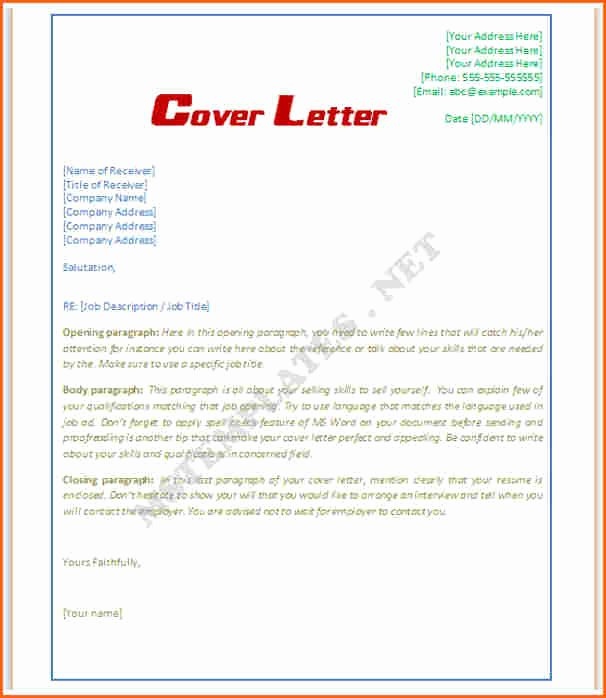 8 Microsoft Word Cover Letter Template Bud Template