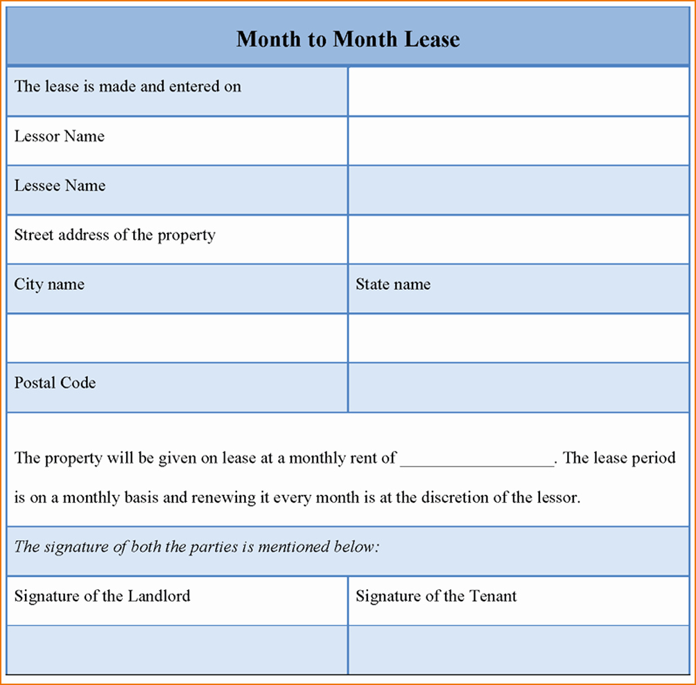 8 Month to Month Rental Agreement Template