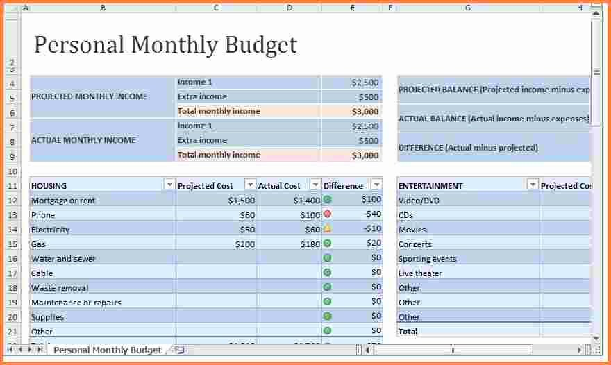 8 Monthly Expenses Spreadsheet Template