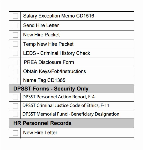 8 New Hire Checklist Samples
