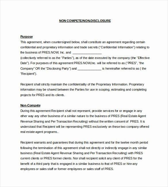 8 Non Pete Agreement Templates Doc Pdf