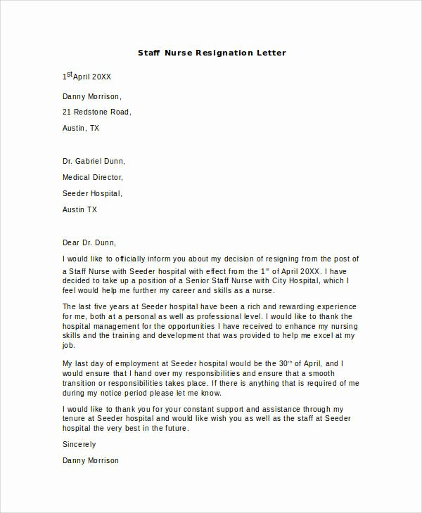8 Nurse Resignation Letter Samples And Templates Pdf