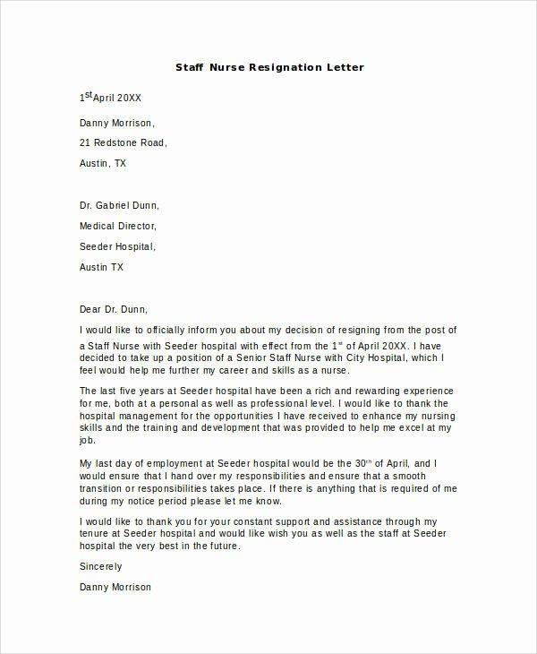 8 Nurse Resignation Letter Samples and Templates – Pdf