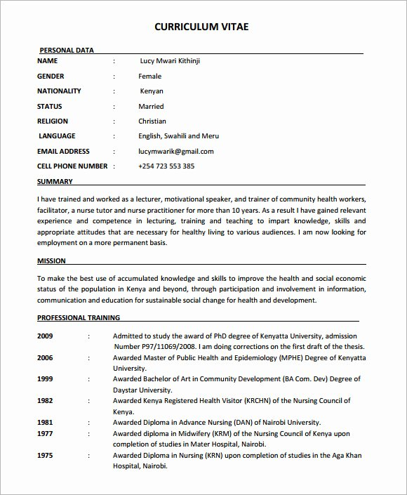 8 Nursing Cv Samples