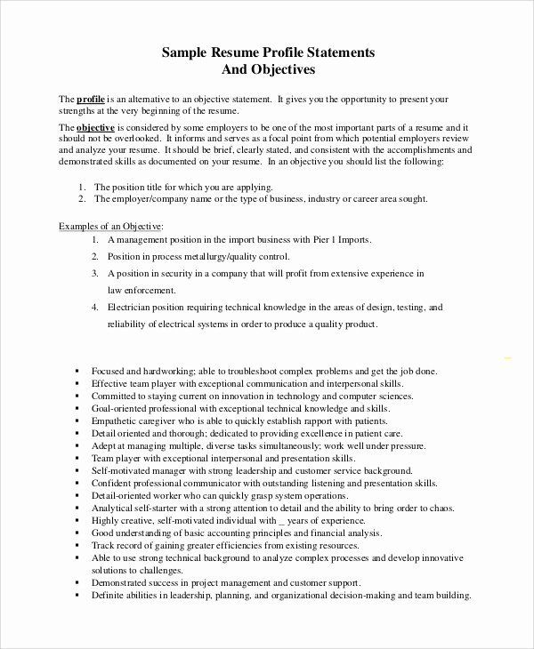 8 Objective Statement Resume Samples