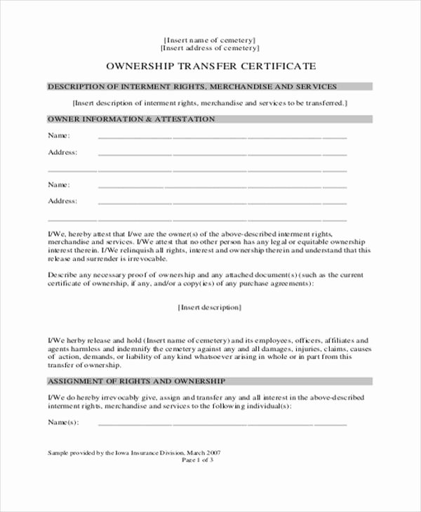 8 Ownership Transfer Letter Templates Pdf Doc