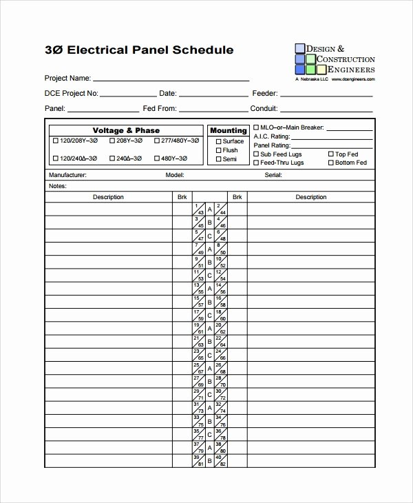 8 Panel Schedule Templates