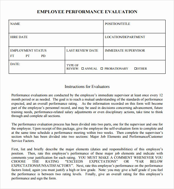 8 Performance Evaluation Samples Templates Examples