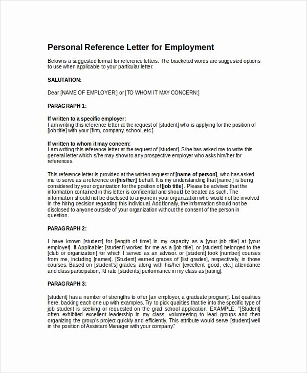 8 Personal Reference Letter Templates Free Sample