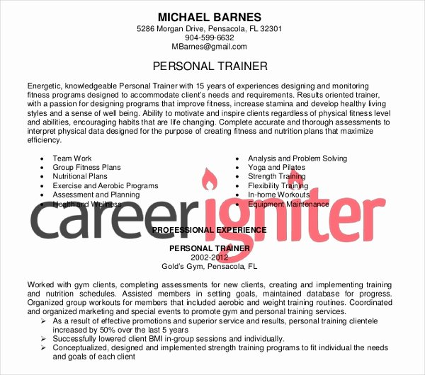 8 Personal Trainer Resume Templates Pdf Doc