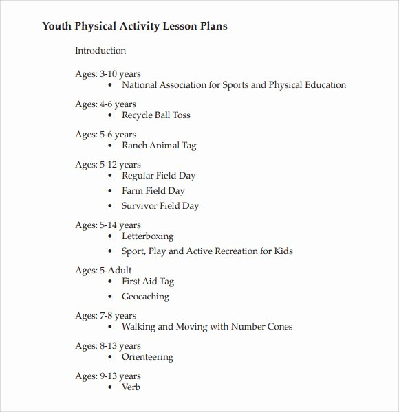 8 Physical Education Lesson Plan Templates for Free